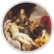 Pieta Round Beach Towel