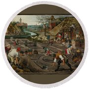 Pieter Breughel The Younger Round Beach Towel