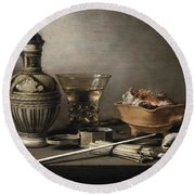 Pieter Claesz - Still Life With A Stoneware Jug, Berkemeyer, And Smoking Utensils 1640 Round Beach Towel