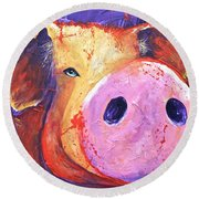 Pig On Purple I Round Beach Towel
