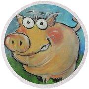 pig Round Beach Towel