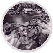 Pigeon Forge River Great Smoky Mountains Bw Round Beach Towel