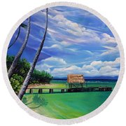 Pigeon Point   Tobago Round Beach Towel