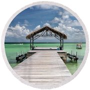 Pigeon Point, Tobago#pigeonpoint Round Beach Towel