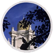 Pigeons Silhouetted Round Beach Towel