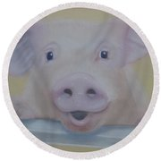 Piggy Pig Round Beach Towel