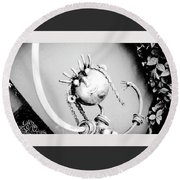 Pigtails Girl Metal Monochrome  Round Beach Towel