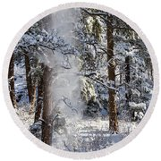 Pike National Forest Snowstorm Round Beach Towel