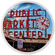 Pike Place Market Round Beach Towel
