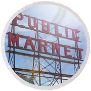 Pike Place Public Market Sign Round Beach Towel