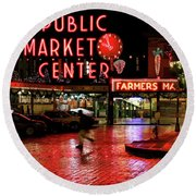 Pike Place Reflections Round Beach Towel