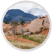 Pikes Peak From Red Rock Canyon Round Beach Towel