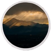 Pikes Peak Sunset Round Beach Towel