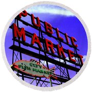 Pike's Place Market Round Beach Towel