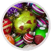 Pile Of Beautiful Ornaments Round Beach Towel