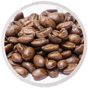 Pile Of Coffee Beans Isolated On White Round Beach Towel