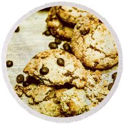 Pile Of Crumbled Chocolate Chip Cookies On Table Round Beach Towel