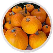 Pile Of Pumpkins For Sale Expressionist Effect Round Beach Towel