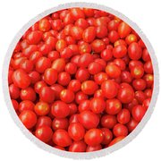 Pile Of Small Tomatos For Sale In Market Round Beach Towel