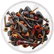 Pile Pipes Round Beach Towel