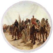 Pilgrims Going To Mecca Round Beach Towel