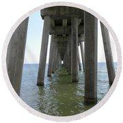 Underneath The Pier Round Beach Towel