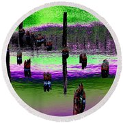 Pilings Of The Past Round Beach Towel