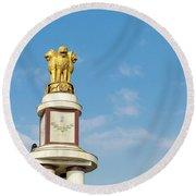 pillar for the 50th anniversary of India, Chennai, Tamil Nadu Round Beach Towel