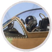 Pilot In The Cockpit Of A Skyhawk Fighter Jet  Round Beach Towel