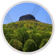 Pilot Mountain In Spring Green Round Beach Towel