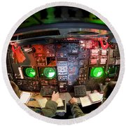 Pilots At The Controls Of A B-52 Round Beach Towel by Stocktrek Images