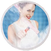 Pin Up Cleaning Lady Washing Glass Shower Door Round Beach Towel