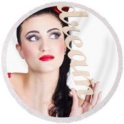 Pin Up Girl Daydreaming  Round Beach Towel