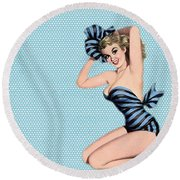 Pin Up Girl Square 2 Round Beach Towel