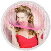 Pin Up Hairdresser Woman With Hair Salon Brush Round Beach Towel