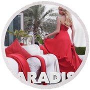 Pin Up Model Tatiana 3 Round Beach Towel