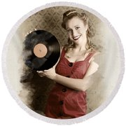 Pin-up Rockabilly Woman Holding Vinyl Record Lp Round Beach Towel