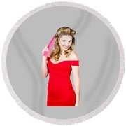 Pin-up Styled Fashion Model With Classic Hairstyle Round Beach Towel