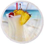 Pina Colada Cocktail On The Beach Round Beach Towel