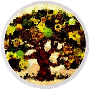 Pinatamiche Tree Painting In Crackle Paint Round Beach Towel