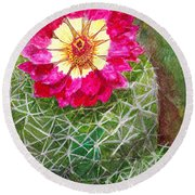 Pincushion Cactus Round Beach Towel