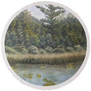 Pine And Lily Pads 2  Round Beach Towel