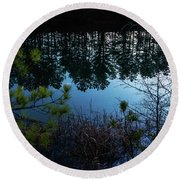 Pine Barren Reflections Round Beach Towel