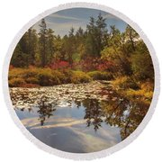 Pine Barrens New Jersey Whitesbog Nj Round Beach Towel