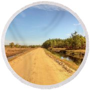 Pine Barrens Of New Jersey Cranberry Harvest Bogs  Round Beach Towel