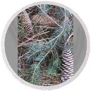 Pine Cone Brush Round Beach Towel