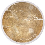 Pine Cone Shadows Round Beach Towel