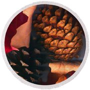 Pine Cones And Leaves Round Beach Towel