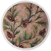 Pine Cones And Spruce Branches Round Beach Towel