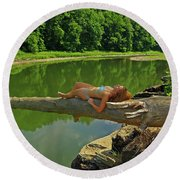 Pine Creek Afternoon Round Beach Towel